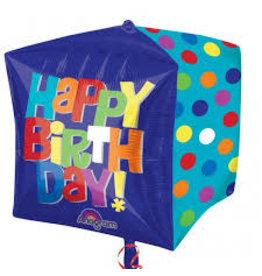 """Happy Birthday"" Dots Cubez Folie Ballon"