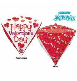 """Happy Valentine's Day"" Diamondz Folie Ballon"
