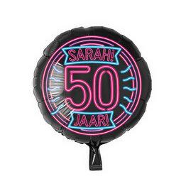 """Neon Foil Balloon """"50 Jaar Sarah"""""""