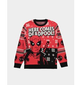 """Marvel """"Here Comes Deadpool"""" Christmas Sweater"""