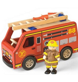 Pintoy Houten Brandweerauto met Brandweerman