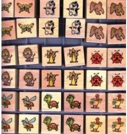 Houten dieren stempel vierkant