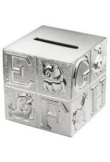 Zilverstad Verzilverde spaarpot kubus ABC