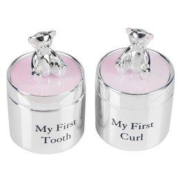 Bambino Verzilverde tanden- en haarlokdoosjes beer roze