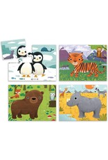 """Mudpuppy 4 in a Box Puzzle Set """"Animals of the World"""""""