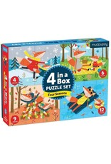 """Mudpuppy 4 in a Box Puzzle Set """"Four Seasons"""""""