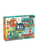"Mudpuppy 4 in a Box Puzzle Set ""Transportation"""