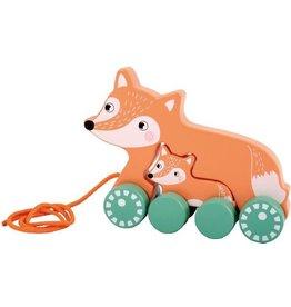 Wa Wa Houten trekfiguur vos met jong