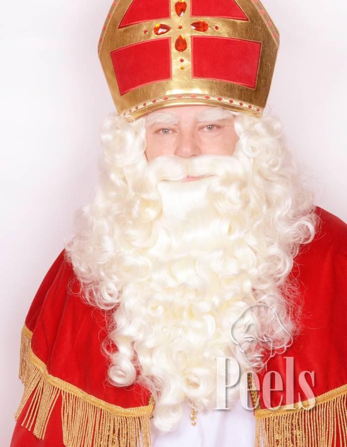 Peels haarmode Sinterklaasbaard en pruik set kunsthaar wit