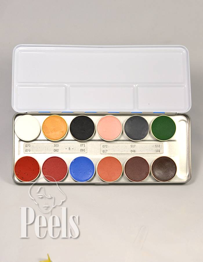 Kryolan Aquacolor palette 12 colors kleur B