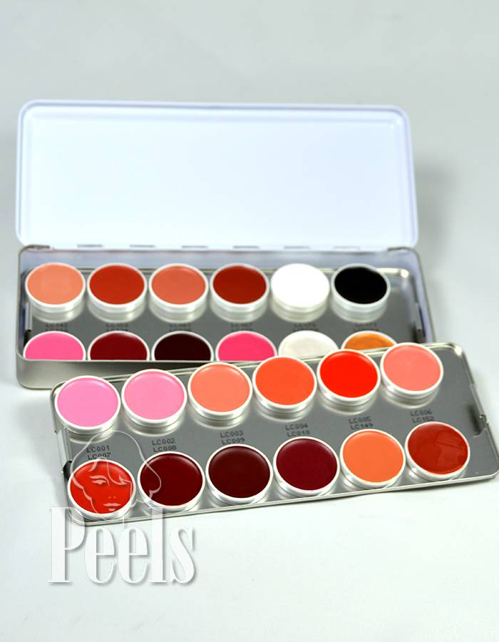 Kryolan Lip Rouge palette 24 kleuren classic