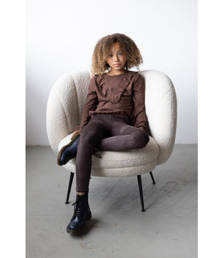 LEVV Meisjes winter blouse - Roelyn - AOP Bruin choco stip