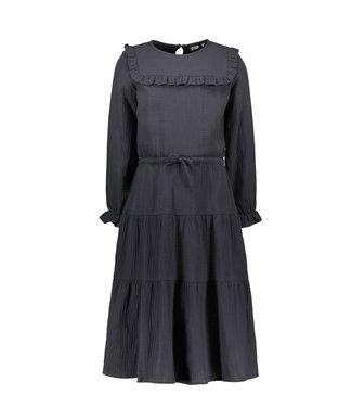 Like Flo Meisjes winter jurk lang - Fancy dubbele stof - Antraciet
