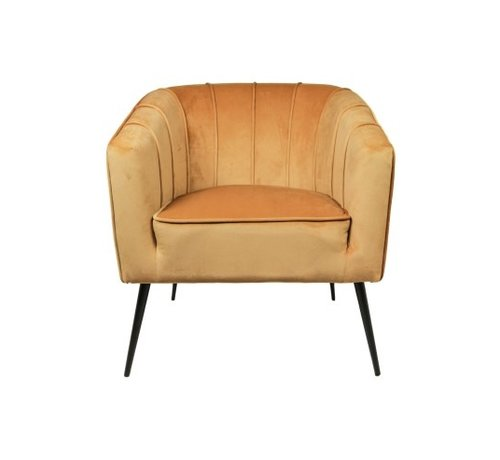 HSM Collection Fauteuil Chester - velours - mosterdgeel