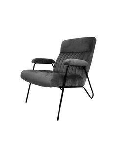 HSM Collection Fauteuil Chicago - velours/metaal - donkergrijs