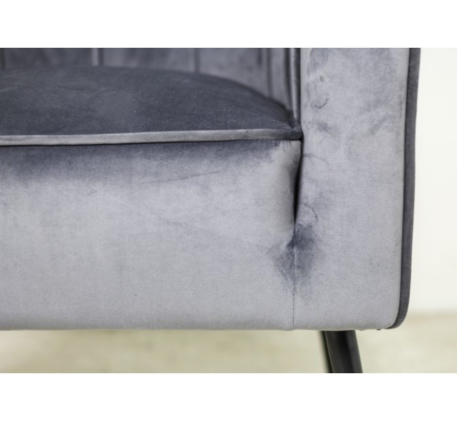 Fauteuil Chester - velours - donkergrijs