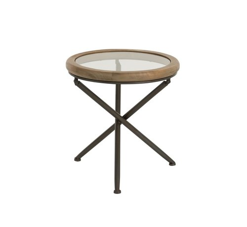 J-Line tafel rond hout/glas bruin small