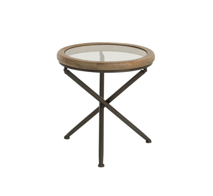 tafel rond hout/glas bruin small
