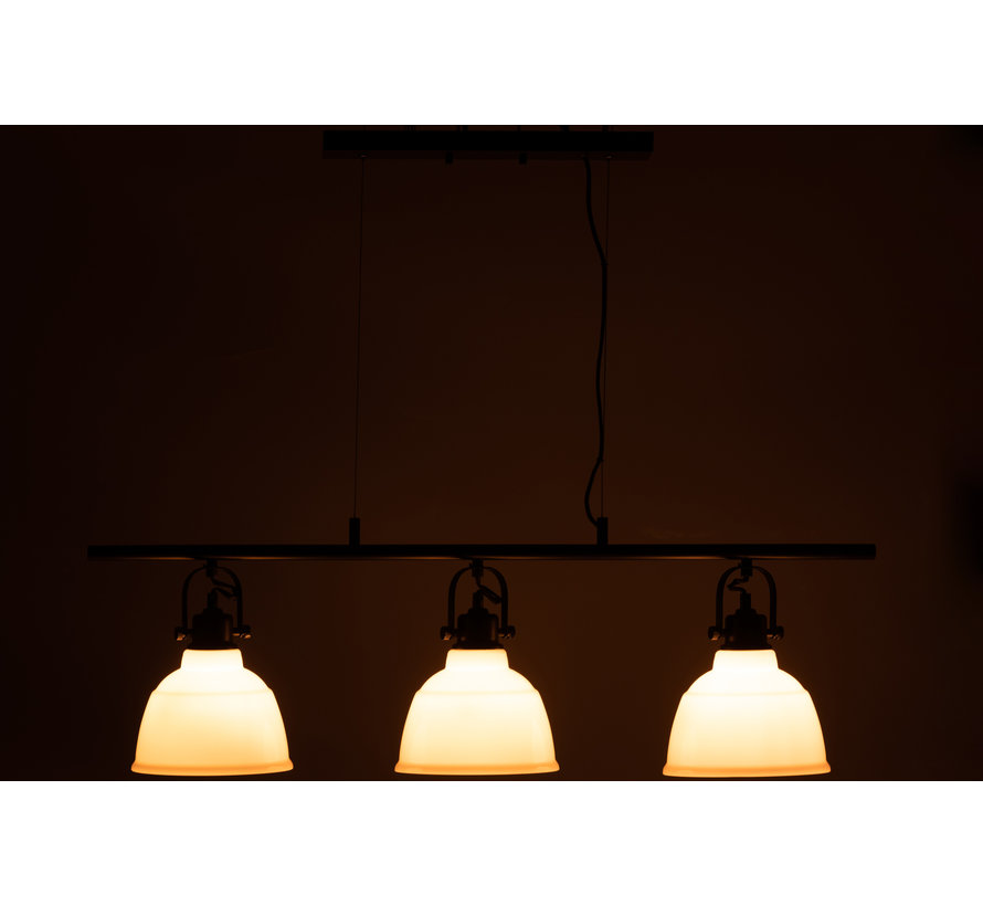 hanglamp triple magali staal/glas wit