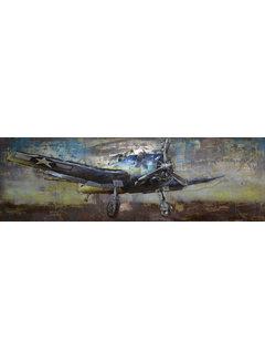 3d Schilderij metaal vliegtuig zijkant
