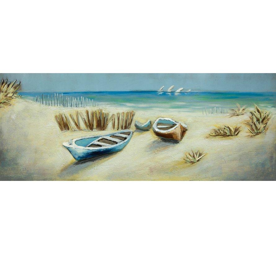 3d Schilderij metaal Strand met boot