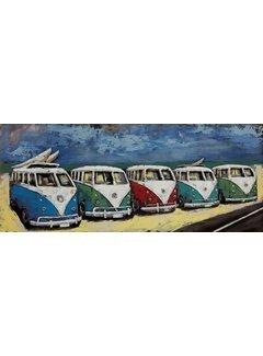 3d Schilderij metaal 5 VW Bussen
