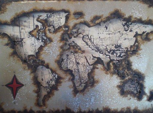 3d Schilderij metaal Wereld Schatkaart