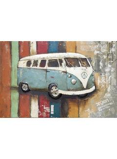 3d Schilderij metaal VW bus