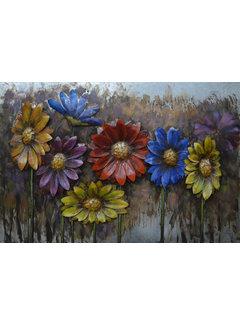 3d Schilderij metaal Bloemen