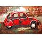 3d Schilderij metaal Rode Auto