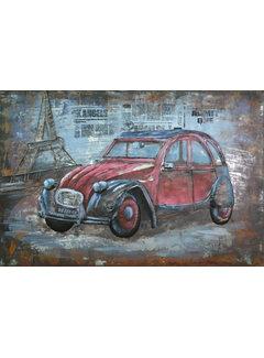 3d Schilderij metaal Oude auto Parijs