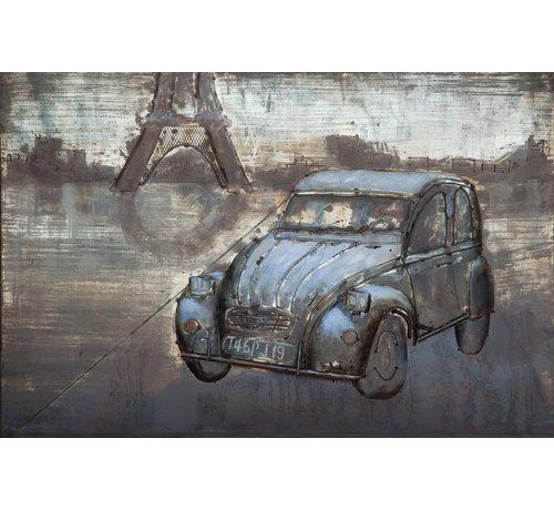3d Schilderij metaal Auto Parijs