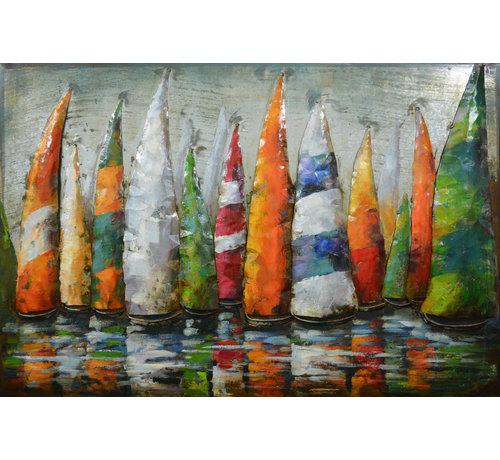 3d Schilderij metaal Zijlboten oranje/groen