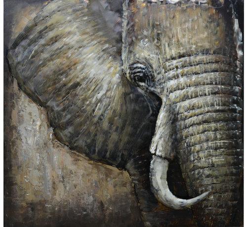3d Schilderij metaal Olifant