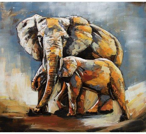 3d Schilderij metaal Olifant en kind