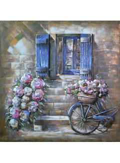 3d Schilderij metaal Raam en bloemen
