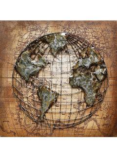 3d Schilderij metaal Wereldbol