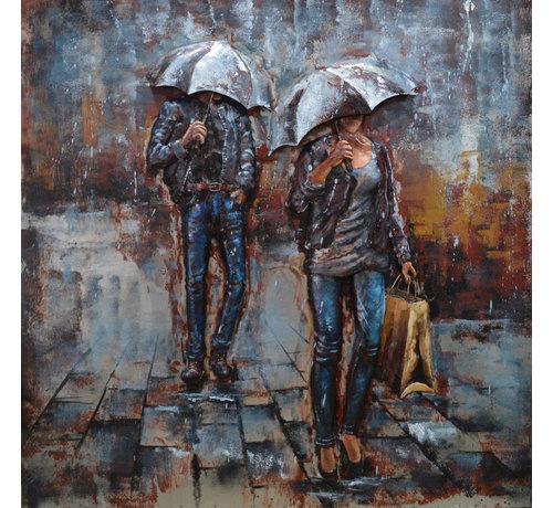 3d Schilderij metaal Regen
