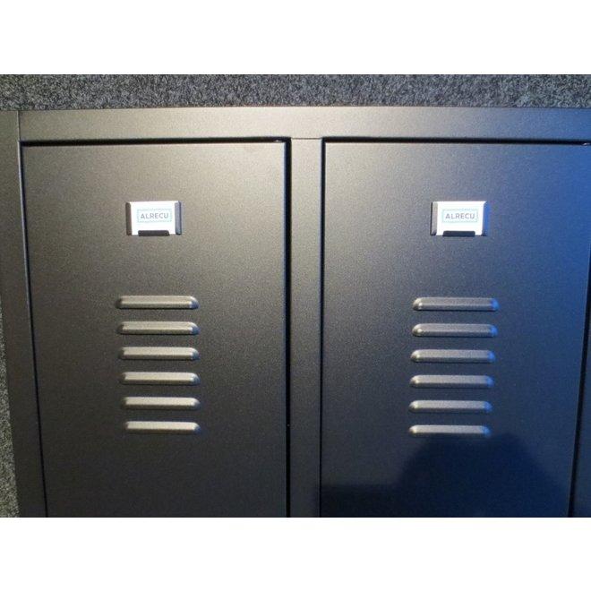 A-Locker 2 deurs Zwart Met 5 Legplanken En 1 Hangroede