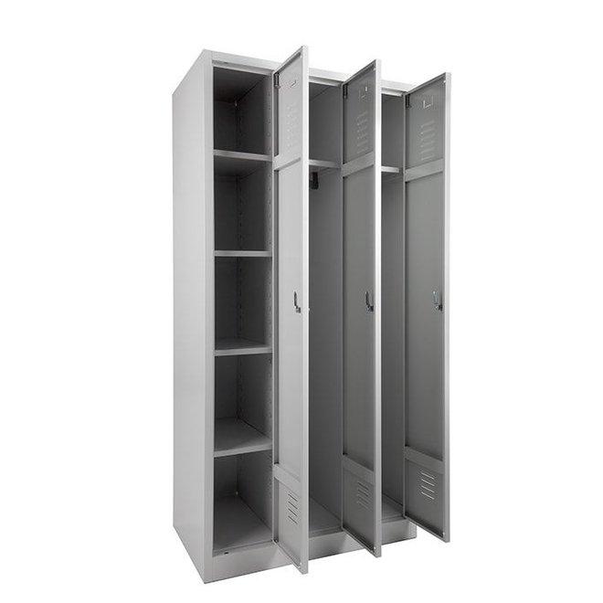 A-Locker 3 deurs Wit Met 6 Legplanken En 2 Hangroedes