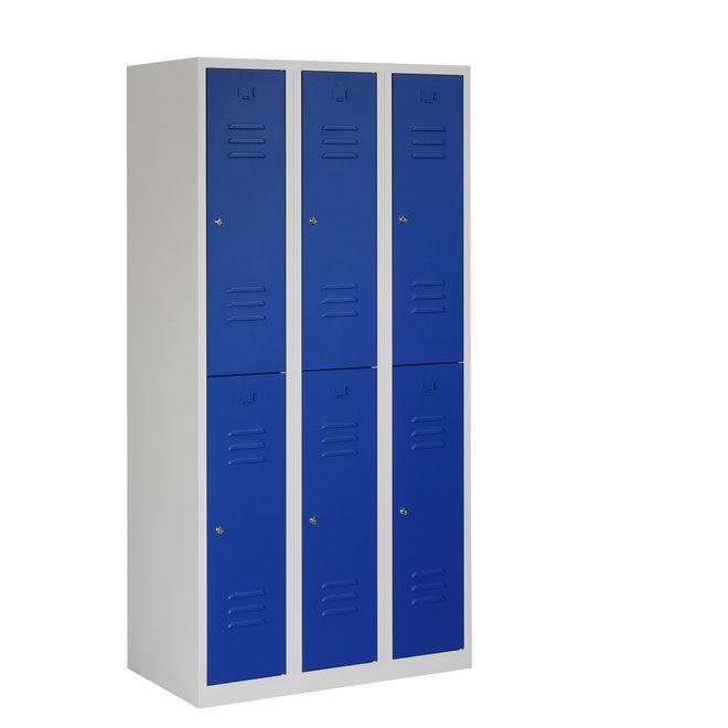 Locker 6-deurs ARH.3.6.GR/BL Kolom 30 cm Breed