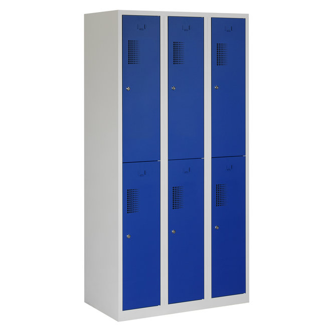 Locker 6-deurs ANH.3.6.GR/BL Kolom 30 cm Breed