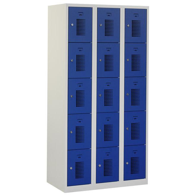Locker 15-deurs ANH.3.15.GR/BL Kolom 30 cm Breed
