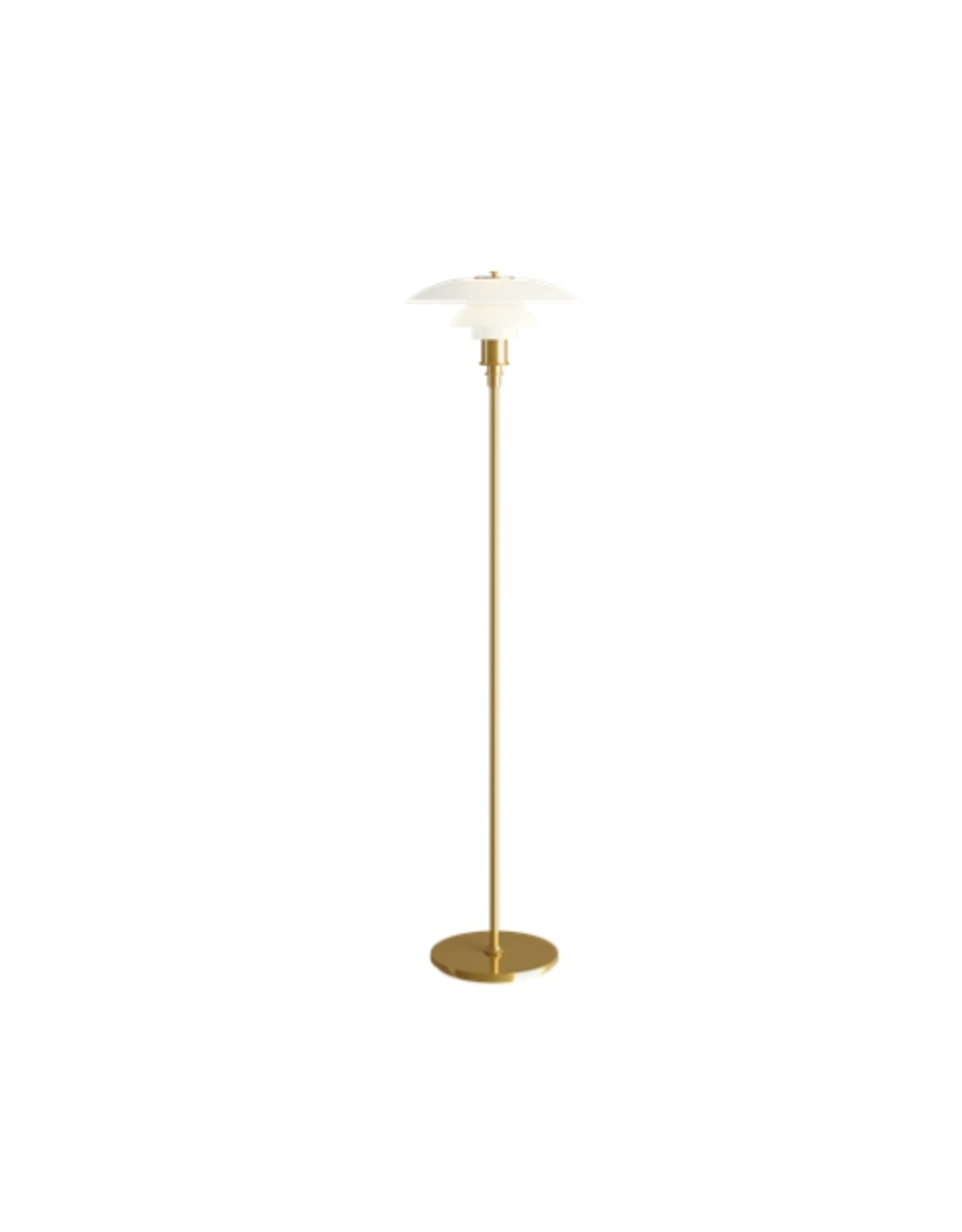 PH 3 1/2-2 1/2 蛋白石玻璃燈罩黃銅色燈柱落地燈
