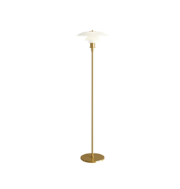 LOUIS POULSEN PH 3 1/2-2 1/2 蛋白石玻璃燈罩黃銅色燈柱落地燈