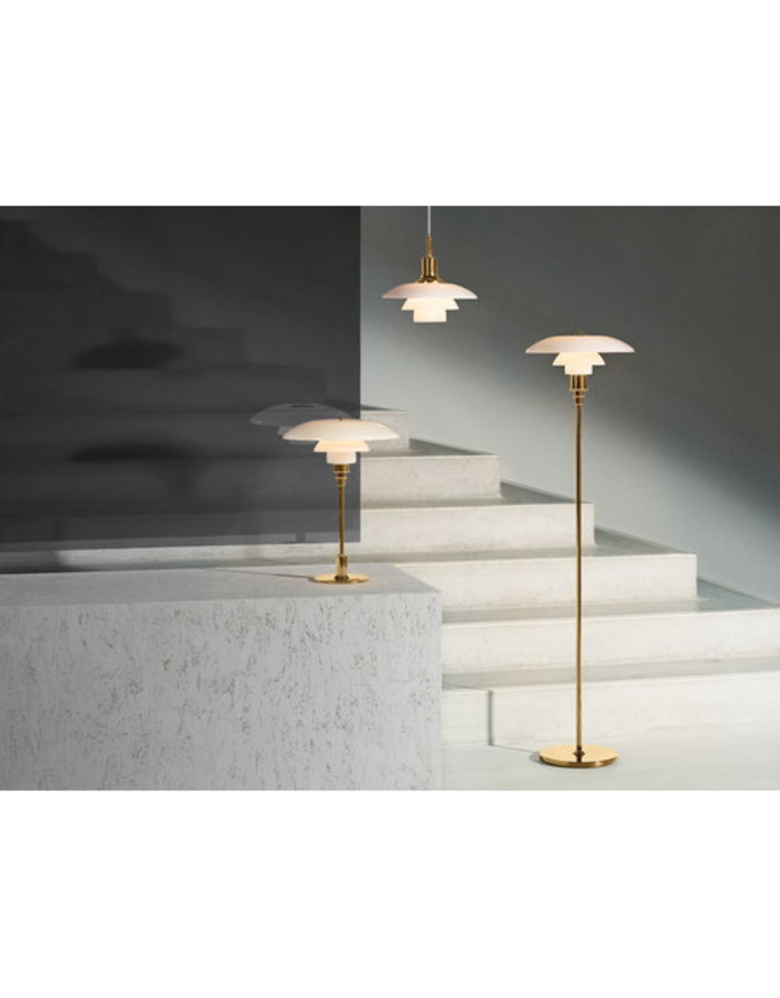 LOUIS POULSEN PH 3 1/2-2 1/2 FLOOR LAMP, MOUTH BLOWN WHITE OPAL GLASS WITH BRASS FINISH