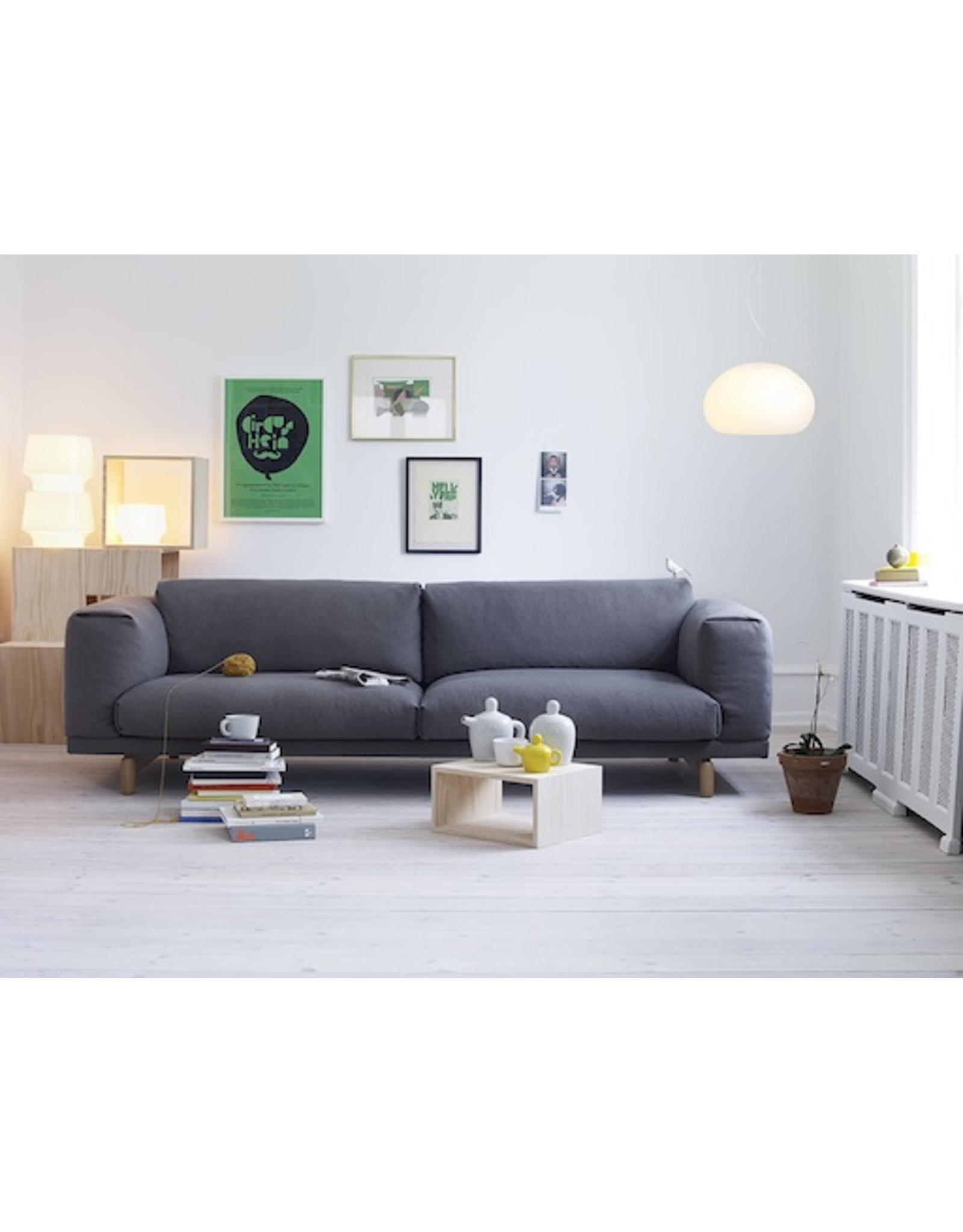 MUUTO REST 3-SEATER SOFA IN DARK GREY FABRIC