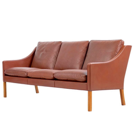 FREDERICIA 2209 3-SEATER SOFA IN WALNUT LEATHER