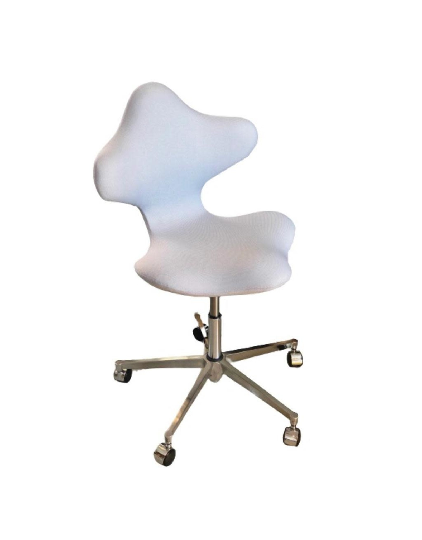 VARIER ACTIVE HEIGHT ADJUSTABLE SWIVEL CHAIR IN LIGHT GREY #144 REVIVE FABRIC