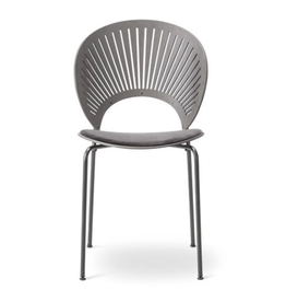 FREDERICIA 3396 TRINIDAD CHAIR, SEAT UPHOLSTERED IN GREY LEATHER